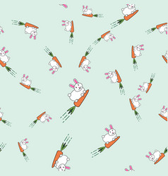seamless pattern with cute bunnies and carrots vector image