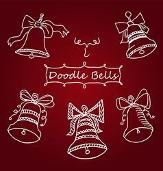 Set icons unique christmas bells in doodle vector