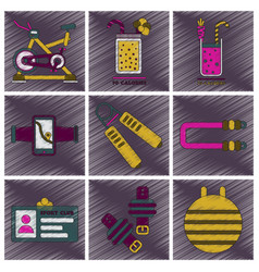 Set of flat shading style icons gym equipment vector