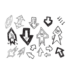 Set of fun hand drawn character arrows vector image
