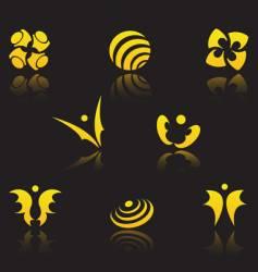 set of golden symbols vector image