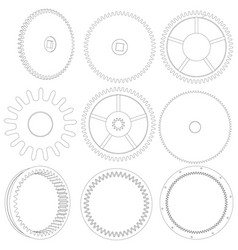Several different wire-frame gears vector