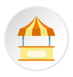 shopping counter orange with tent icon circle vector image