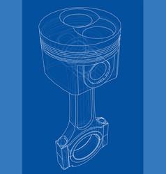 Sketch piston rendering 3d vector