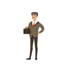 Smiling mature successful businessman character in vector