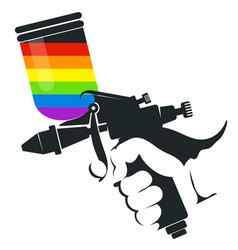Spray gun in hand vector