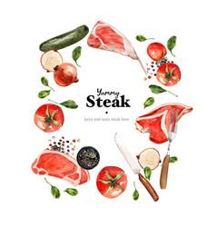 Steak wreath design with vegetable fresh meat vector