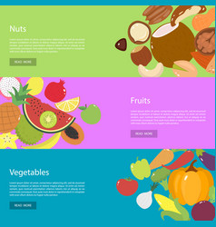 template design horizontal web banners for nuts vector image