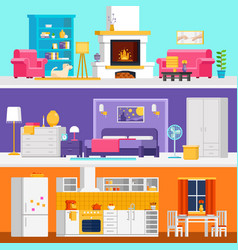 Three colorful flat rooms to vector