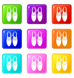 Tied laces on shoes joke icons 9 set vector