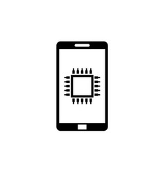 touchscreen smartphone and cpu chip flat icon vector image