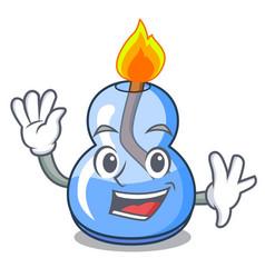 Waving alcohol burner character cartoon vector