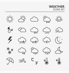 weather web icons set line art simple vector image