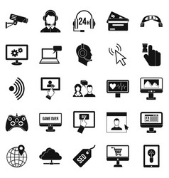 Web design icons set simple style vector