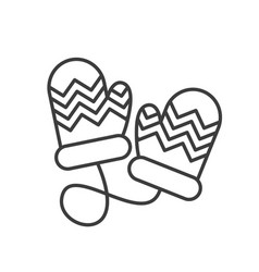Winter mittens linear icon vector