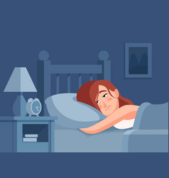 Woman with insomnia or nightmare lying in bed vector