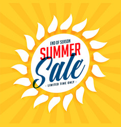 yellow summer sale sun background vector image