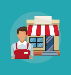 color background with salesman and facade store vector image vector image