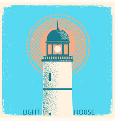 lighthouse vintage poster on old paper texture vector image vector image