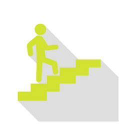 man on stairs going up pear icon with flat style vector image vector image