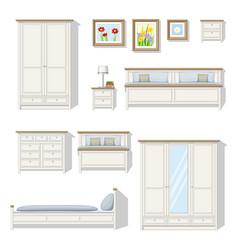 Set of classical bedroom furniture vector