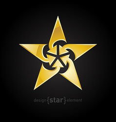Abstract Gold star with arrows design element on vector image