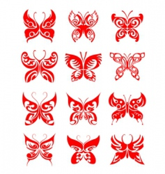 butterfly tattoo set vector image vector image