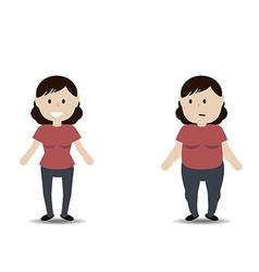 Fat and thin woman vector image