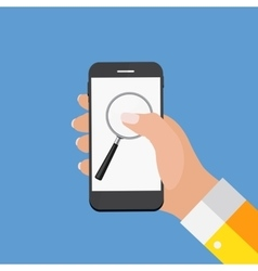 Hand with Abstract Phone and Search Icon Template vector image