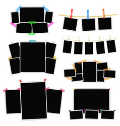 photo frames collage set on white background vector image vector image