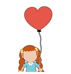 Pretty girl with hairstyle and heart balloon vector