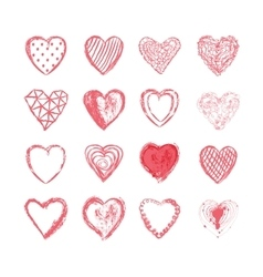 set of hand drawn hearts vector image