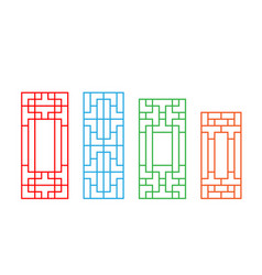 set of korean door pattern isolated on white vector image vector image