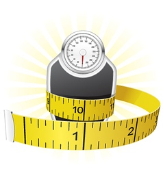 weights and tape measure vector image