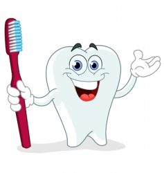 Cartoon tooth with toothbrush vector