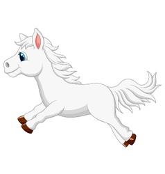 Cute white pony horse cartoon running vector
