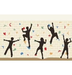 Kids climbing wall vector image vector image