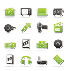 Media and technology icons vector image vector image