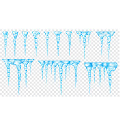 set of translucent icicles vector image