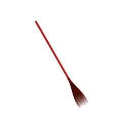 vintage broom in red design vector image
