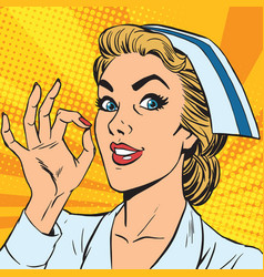 avatar portrait of a nurse ok gesture vector image