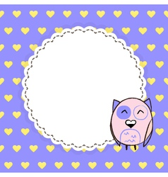 Card template with yellow hearts on a purple vector image