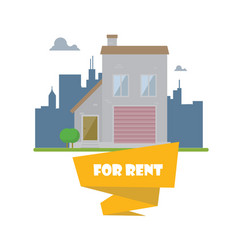 Flat house on city background real estate concept vector