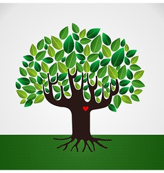 Go green tree love vector image vector image