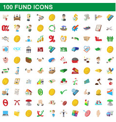 100 fund icons set cartoon style vector