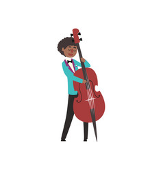 African american jazz musician wearing retro vector
