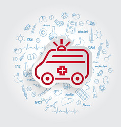 ambulance icon and healthcare doodles vector image