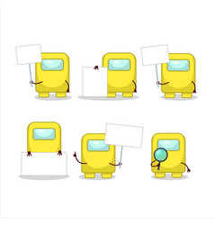 Among us yellow cartoon character bring vector