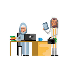 arabic woman working at laptop vector image