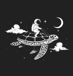 astronaut flying on a turtle at night vector image